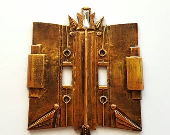 Art Deco Double Standard Switch Plate, Copper Finish. Two switch cover, old copper switchplate