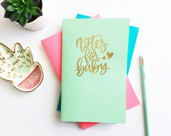 Baby Journal, Baby Notebook, Embossed Notebook, New Baby Gift, Gift for Mom To Be, Hand Lettered Notebook, Notes for Baby, Baby Shower Gift,