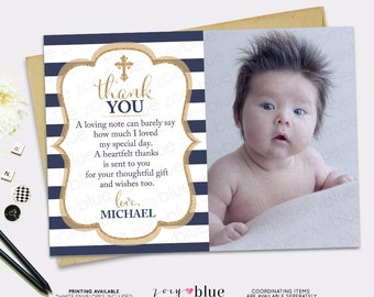 Baptism Thank You Card - Navy Stripes Gold Boy Picture Thank You Card - Dark Blue Christening Thank You Card -  Printable First Communion