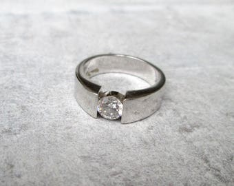 Solitaire ring silver zirconia Gr. 60, sterling silver ring Solitaire band zirconia US size 9.1 UK size S