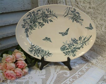 Antique french teal transferware oval serving platter. Teal transferware. Jasmine. Butterflies. Blue green transferware. Jeanne d'Arc living