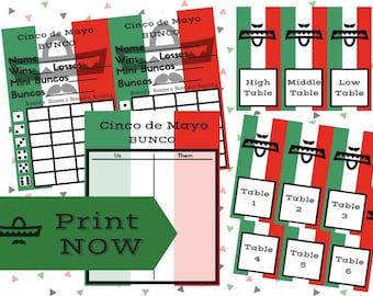 Printable Cinco de Mayo Bunco Complete Set including Tallysheet, Scorecards, Table Markers **Bonus Table Numbers**
