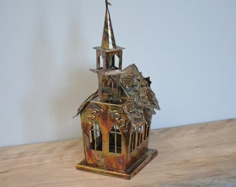 """Vintage Flamed Brass Music Box Church plays """"Amazing Grace""""  + FREE Shipping"""