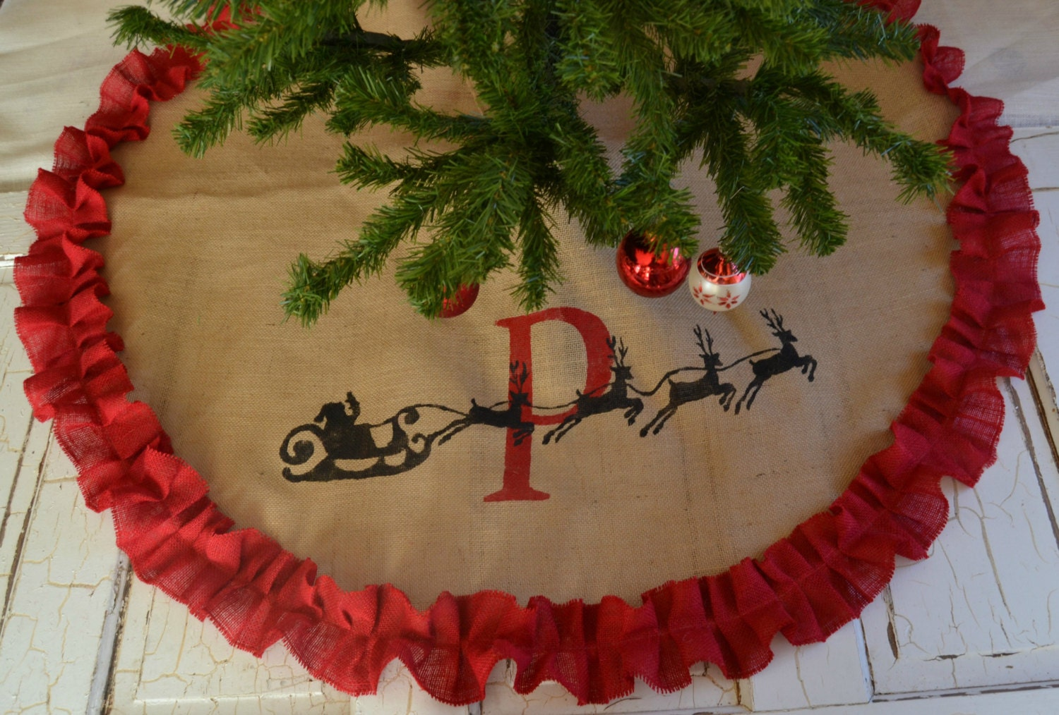 santa burlap tree skirt personalized tree skirt monogramed