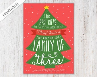 Whimsical Christmas Tree Pregnancy Announcement - Red and Green Holiday Card - Christmas Card - New Baby