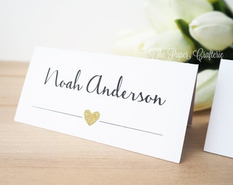10 x Wedding Place Cards Customised Name Cards Gold Silver Glitter Table Seating