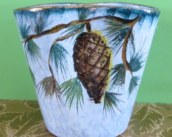 Mid Century Italian Hand Crafted Vase  Pine Cone Design - Made In Italy - Free Shipping