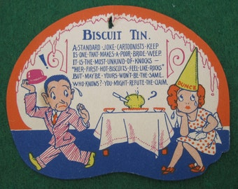Vintage 1920's Bridal Shower Cartoon Gift Card - Biscuit Tin - Free Shipping