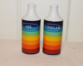 Vintage Retro Rainbow Ceramic Oil and Vinegar Cruets