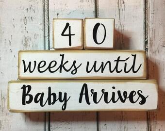 Wooden 40 Weeks Until Baby Arrives Gender Neutral Countdown Blocks