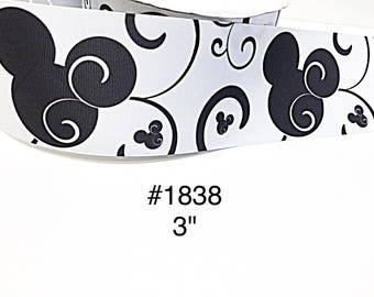 """2/3/5 yard - 3"""" Minnie Or Mickey Mouse with Black Swirl on White Jumbo Grosgrain Ribbon Craft Supply"""