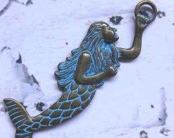 Brass Patina Mermaid Pendant Charms Jewelry Making Supplies