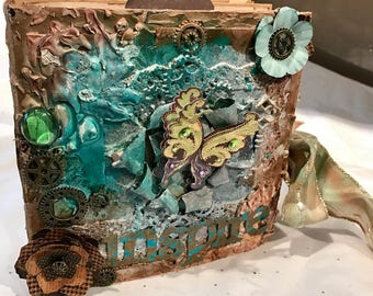 Sale Shabby vintage mini album in tim holtz and DCWV
