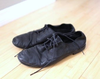 vintage black  leather lace up oxfords flats womens 10