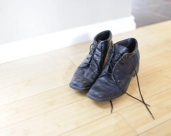 vintage black leather oxfords ankle boots lace up womens 9 1/2