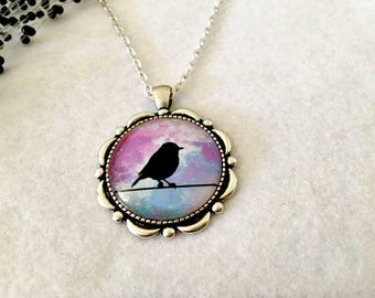 Bird Silhouette Necklace, Nature Necklace, Bird Pendant Necklace, Bird Jewellery, Gift for Her,  Australian Seller
