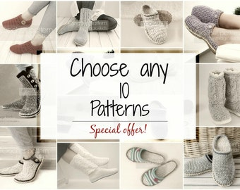 SPECIAL OFFER- Choose any 10 patterns,crochet slippers, boots,loafers. shoes,slip ons,women,men,kids,adult,toddler,bundle crochet patterns