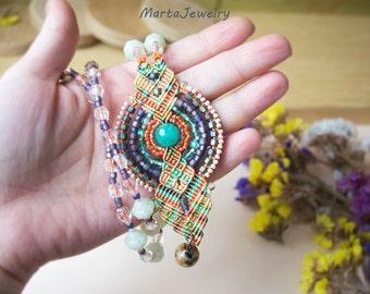 Macrame necklace, micro-macrame jewelry, glass beaded necklace, bohemian, long layer necklace, boho chic, quartz, turquoise violet orange