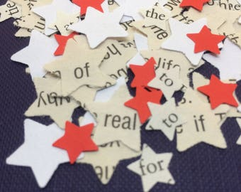 Wedding | Confetti | STARS | Party | Star Shaped | Decorations | Book Page | RED | WHITE | Paper | Table Scatters | Craft Embellishments
