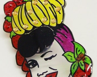Mini Carmen Miranda strawberry and banana hat  illustrated shrink plastic lapel pin/brooch with crystal detail