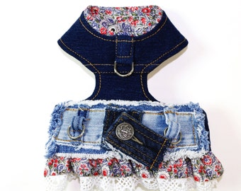 Migrubbie Gigi Floral Frayed Denim Distressed Blue Jeans Lace Girl Dog Harness