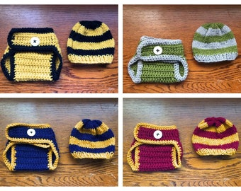 Harry Potter Diaper Cover and Infant Beanie MADE TO ORDER