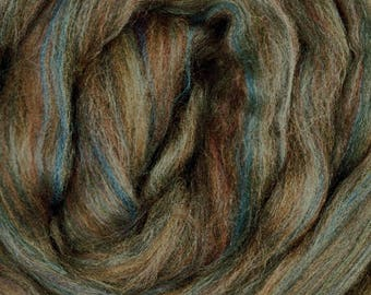 Dyed Merino - Riverstone - Multicolor commercial dyed - combed top roving spinning felting fiber fibre arts - moss green brown