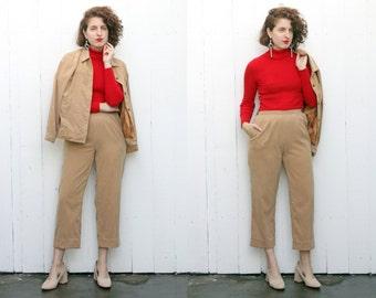 SALE Vintage 80s Two Piece Set | 80s Camel Faux Suede Two Piece Pant Set | Medium M