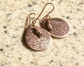 Etched, copper, earrings, handmade