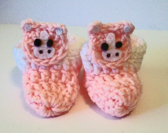 Light Pink Horse Pony Adorable Hand Crocheted Baby Bootie Shoes Great Photo Prop Matching Hat & Bib Also Available