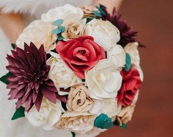 Paper Bridal or Bridesmaid Bouquet - Ivory, Beige, Champagne, Red & Purple - Hand tied bouquet, Dahlia Ranunculus Roses Eucalyptus