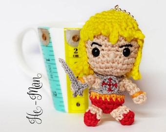 """He-Man amigurumi keychain doll crochet from """"the master of the universe"""""""