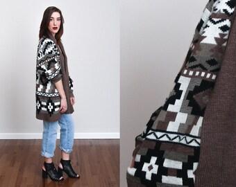 1980s Neutral Tone Aztec Print Oversized Sweater - M - Hippy - Boho
