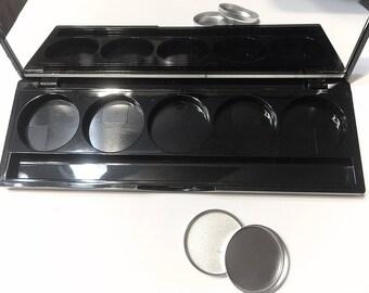 Empty 5 Well Black Palette - Eye Shadow Makeup Case - 26mm Pan Palette