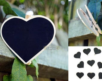 10 x Mini Small Blackboard Peg, Wedding Lolly Buffet Blackboards Heart Placecard, FREE POSTAGE Australia Wide