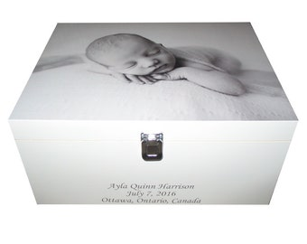 Baby Wooden Keepsake Box with photo on the lid - Personalised
