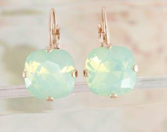 Mint earrings,opal earrings,swarovski,swarovski opal earrings,swarovski square earrings,pacific opal,12mm square,leverback earrings,opal