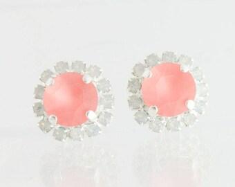 Crystal earrings,swarovski earrings,seaglass earrings,rose peach matt crystal earrings,halo earrings,coral wedding,coral earrings,beach
