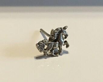 Single Vintage Sterling Silver Unicorn Earring