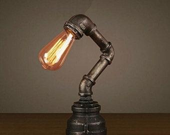 Industrial Steampunk Desk Lamp Metal Pipes Vintage Edison Bulb LED