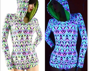 Neon UV Glow Sparkling Chevron Candy Long Sleeve Hoodie Romper with Neon Green Hood Lining Festival Rave Onsie 153957