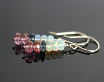 Opal earrings, Pink topaz earrings, London Blue topaz earrings, opal gift for her, Ethiopian opal jewelry, October birthstone gift