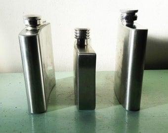 Three Vintage Stainless Steel Hip Flasks - 2 x 6fl oz 1 x 4fl oz