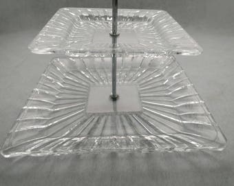 Vintage Clear Glass Tiered Platter