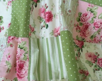 Patchwork Baby Girl Blanket ~ Patchwork Baby Quilt ~ Cotton & Minky Patchwork Blanket  ~ Tanya Whelan ~ Barefoot Roses ~  Shabby Chic Baby