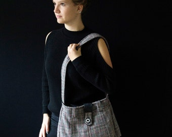 Wool bag, leather bag, Italian eco shoulderbag, Italian-Dutch recycle design, unique eco mode, gift for her.JJePa