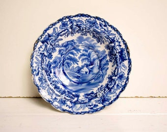 Vintage British Scenery Booths Silicon China England Blue and White Blurring Transferware Small Dish