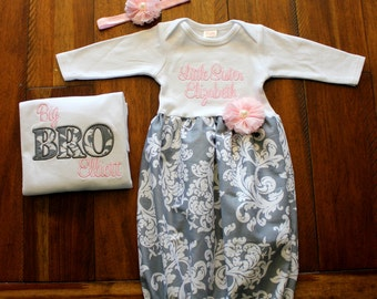 Big Brother Little Sister Set - Grey Damask - T Shirt - Newborn Gown - Pink - Going Home Outfit - Baby Shower Gift