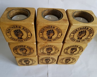 Northern Soul engraved tealight holders