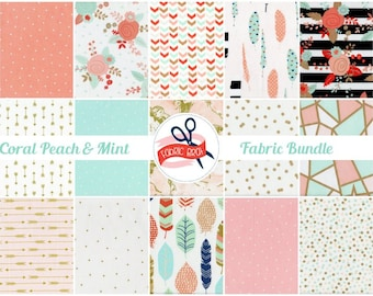 CORAL PEACH & MINT Fabric Bundle Fabric by the Yard Fat Quarter Stripe Fabric Triangle Fabric Quilt Fabric 100% Cotton Fabric Apparel Fabric
